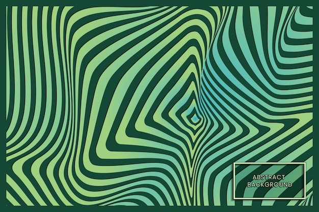Warped green waving lines abstract background