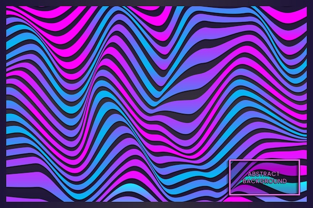 Warped purple blue red waving lines abstract background