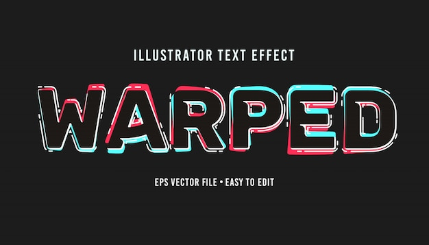 Warped text style editable vector eps text effect
