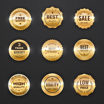 Warranty and quality labels golden emblems with laurel branches, stars and crowns.