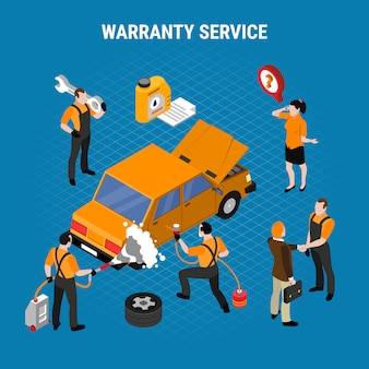 Warranty service isometric concept with work and tools vector illustration
