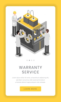 Warranty service, repairment mobile app screen. software and hardware researchers solving issue