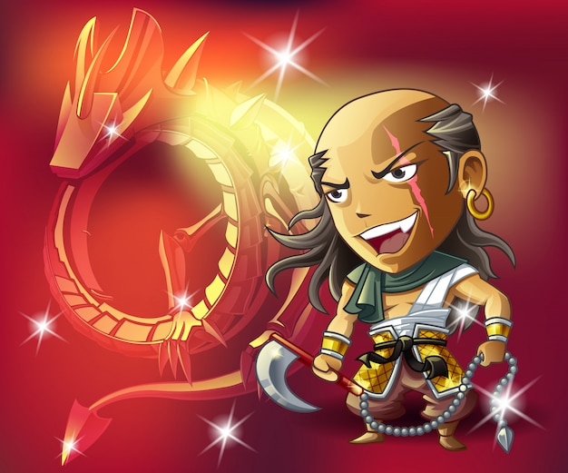 Warrior and aura on red background.