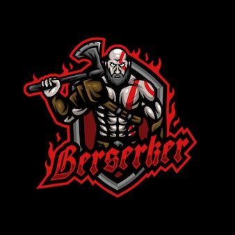 Warrior berserker barbarian mascot logo