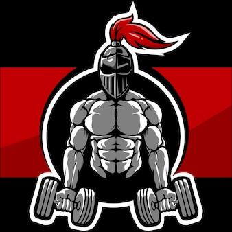 Воин бодибилдинг и логотип спортзала