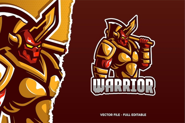 Шаблон логотипа warrior e-sport