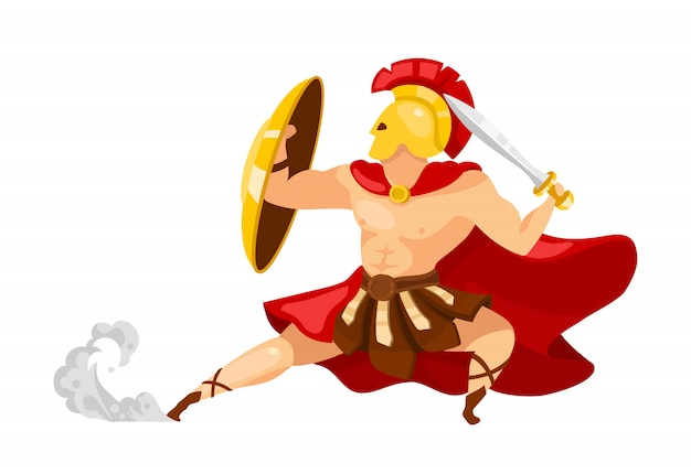 Warrior flat illustration. theseus in armor. gladiator with shield and sword. greek mythology. fighter in action pose. man in defense stance isolated cartoon character on white background