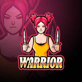 戦士の女の子eスポーツロゴマスコットデザイン