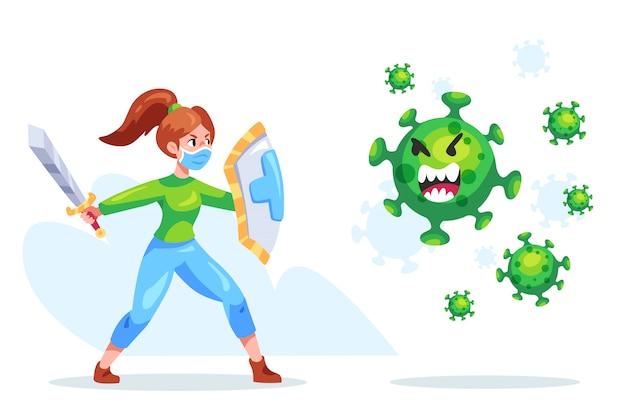 Warrior girl fighting virus