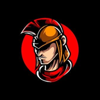 戦士の頭のマスコット ロゴ