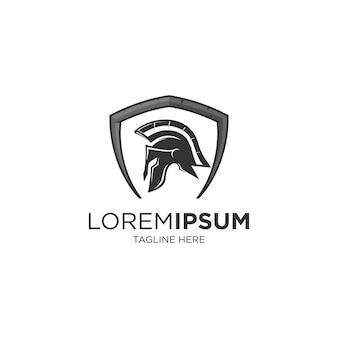 Воин шлем щит логотип шаблон