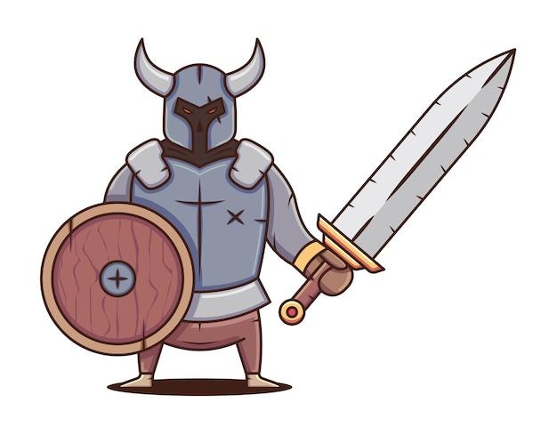 盾と巨大な剣を持った金属鎧の戦士。暗いキャラクター。ベクトルフラット漫画イラスト。