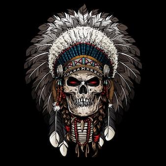 Warrior of indian skull Premium Vector
