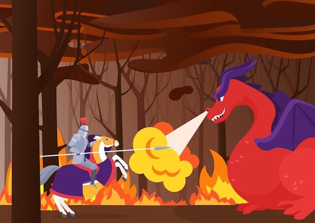 전사 기사는 불타는 숲에서 방패와 창으로 말을 타고 용 영웅과 싸 웁니다.