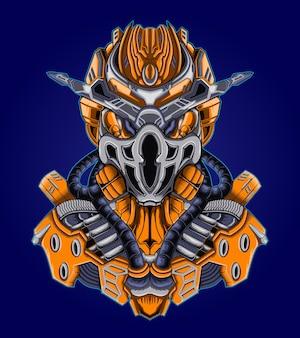 Воин робот киборг солдат векторные иллюстрации Premium векторы