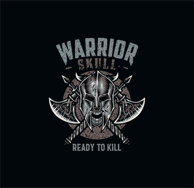 Warrior skull, t shirt  , hand drawn line style with digital color,  illustration