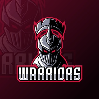 Warrior spartan roman knight mascot gaming logo design  template