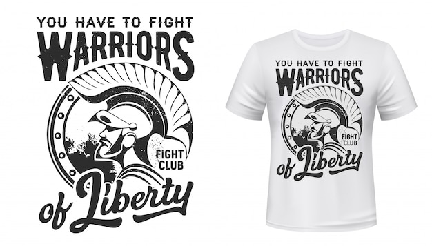 Warrior t-shirt print  fight club mascot