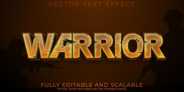 Warrior text effect, editable sword and soldier text style