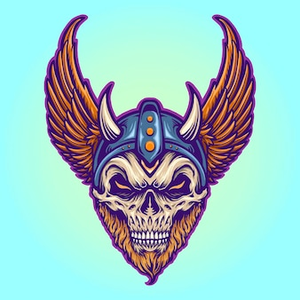 Warrior viking helmet horns wings vector illustrations for your work logo, mascot merchandise t-shirt, stickers and label designs, poster, greeting cards advertising business company or brands.