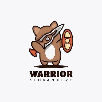 戦士と動物のキャラクターマスコットロゴデザインベクトルイラスト