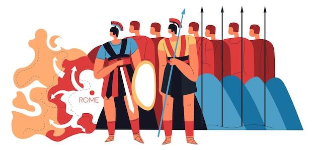 로마 군단의 전사와 군인, 무기를 든 남자. 갑옷을 입고 창과 방패를 들고 로마 제국의 대규모 군대 형성. 보호하거나 침략하는 검투사. 평면 스타일의 벡터