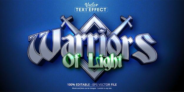 Редактируемый текстовый эффект в стиле мобильной игры warriors of light