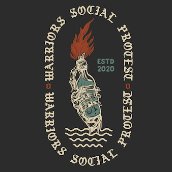 戦士の社会的抗議。モロトフカクテルのヴィンテージのイラスト。