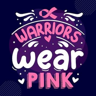 戦士はピンクのタイポグラフィプレミアムベクトルtシャツデザイン見積もりテンプレートを着用します