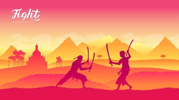Воины с мечами боевых искусств разных народов мира. традиционные поединки с оружием.
