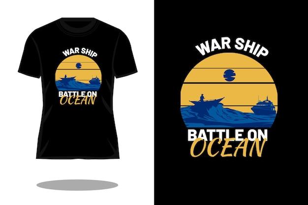 Warship battle ocean silhouette retro t shirt design