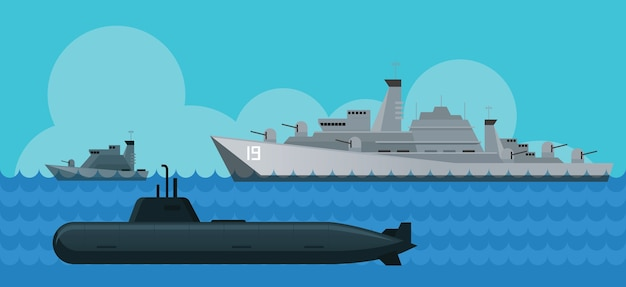 Warship, navy, patrol ship, and submarine, side view, sea