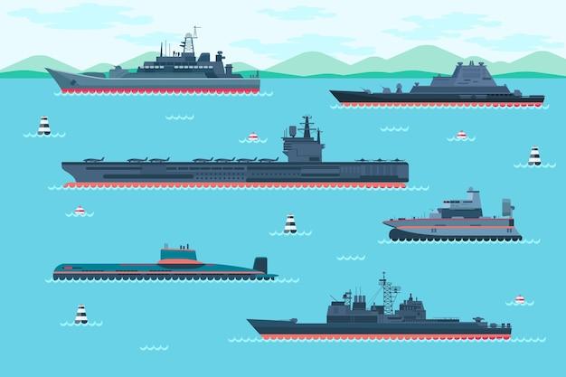 Военный корабль установлен в плоском стиле. лодочный транспорт, катера и суда на воздушной подушке, транспортное судно.