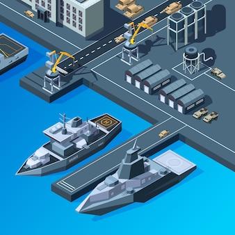 Военные корабли на пристани. набор изометрических изображений американского военно-морского флота.
