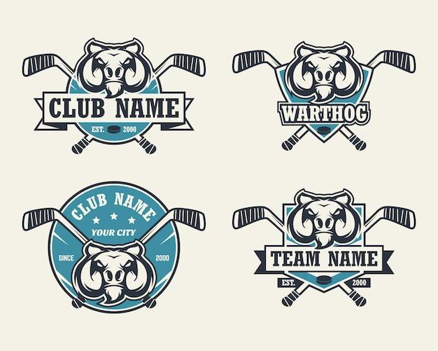Бородавочник голова спортивный логотип. набор хоккейных логотипов.