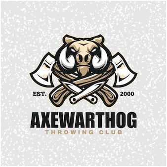 Warthog head with axes and knifes, throwing club logo.