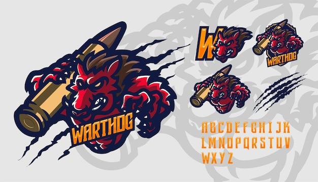 Шаблон логотипа талисмана премиум-класса warthog