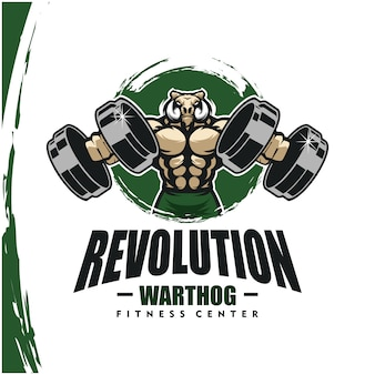Warthog with strong body, fitness club or gym logo.
