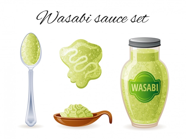 Wasabi asian sauce icon set with bowl, sauce bottle, spoon, splash.