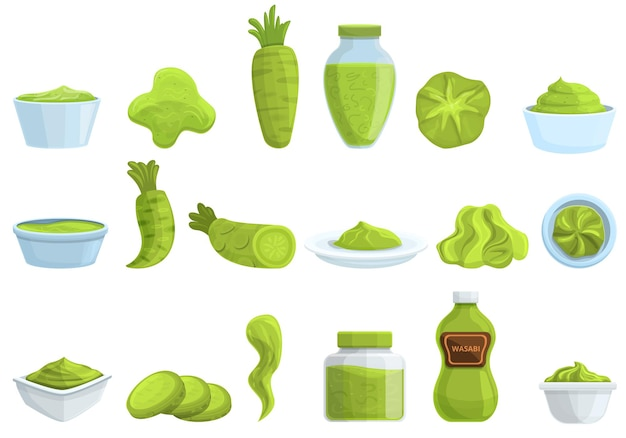 Набор иконок васаби. мультфильм набор векторных иконок васаби для веб-дизайна