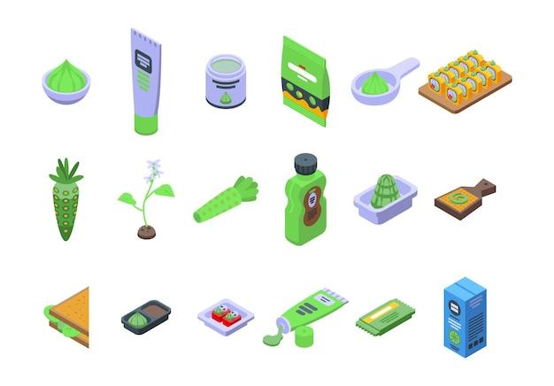 Wasabi icons set. isometric set of wasabi vector icons for web design isolated on white background