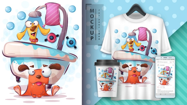 Wash dog illustration and merchandising