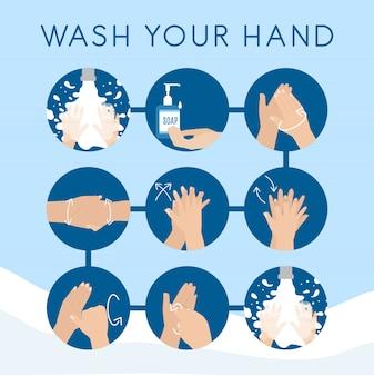 손을 씻기 위해 단계별 지침 정보를 손으로 씻으십시오