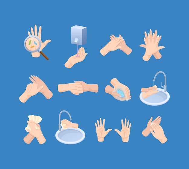 Wash hands instruction set. cleaning arms bacterial disinfection disease prevention and hygiene sanitary. steps for safety care with detergent soap, water, paper towel. healthcare vector cartoon