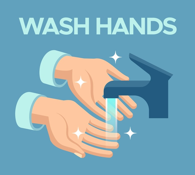 Wash hands. skin disinfection, antibacterial hand washing with soap bubbles under faucet