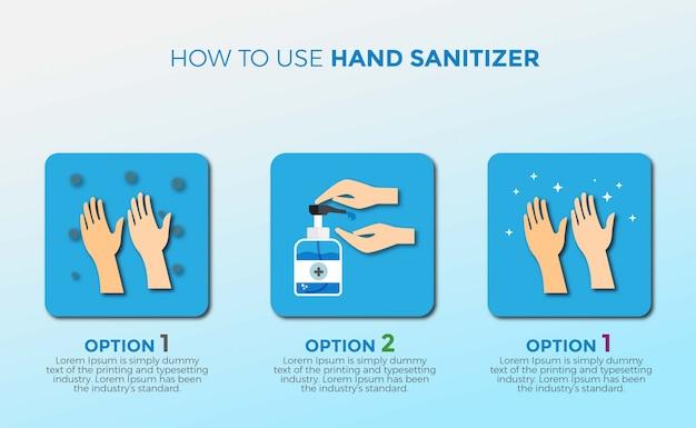 段階的に手を洗い、手の消毒方法を使用する