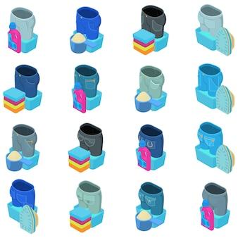 Wash jeans icon set