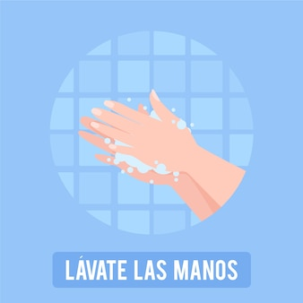 Wash you hands illustration in spanish