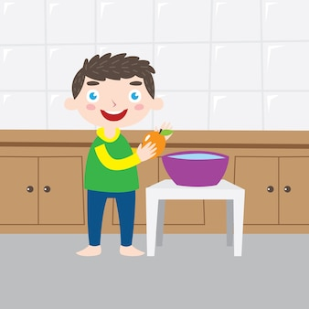 Wash your fruit children poster design series