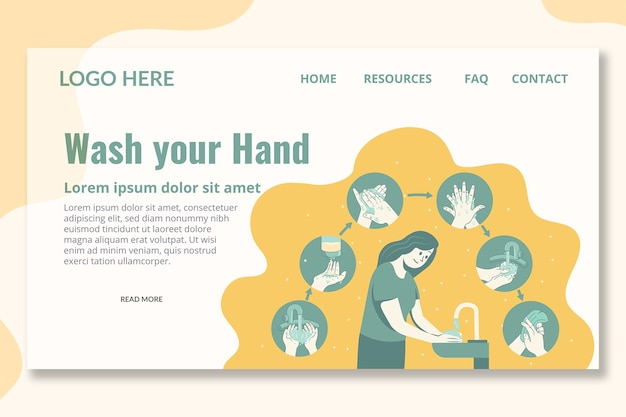Wash your hand landing page template